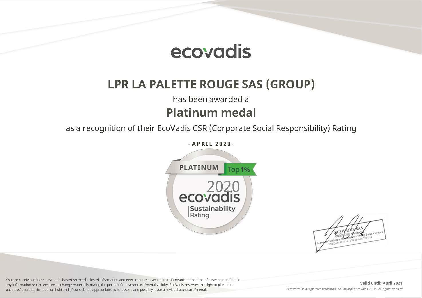 LPR Medalha de Platina nos prémios EcoVadis de Liderança em Sustentabilidade, Sector PMEs
